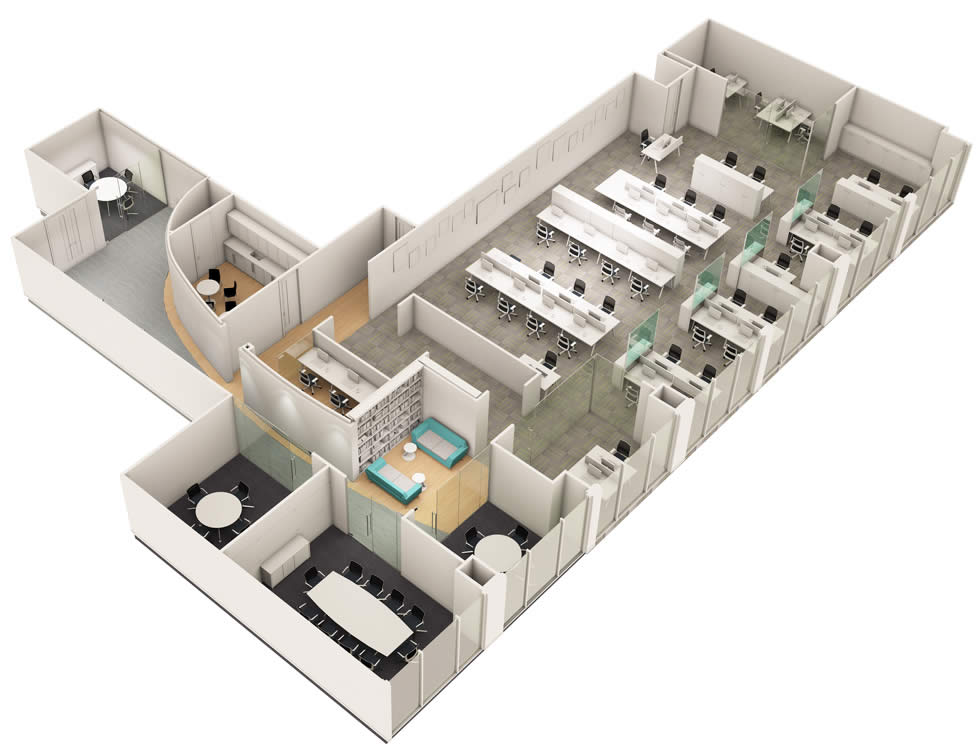 Axonometric office visual - Ribbon Projects